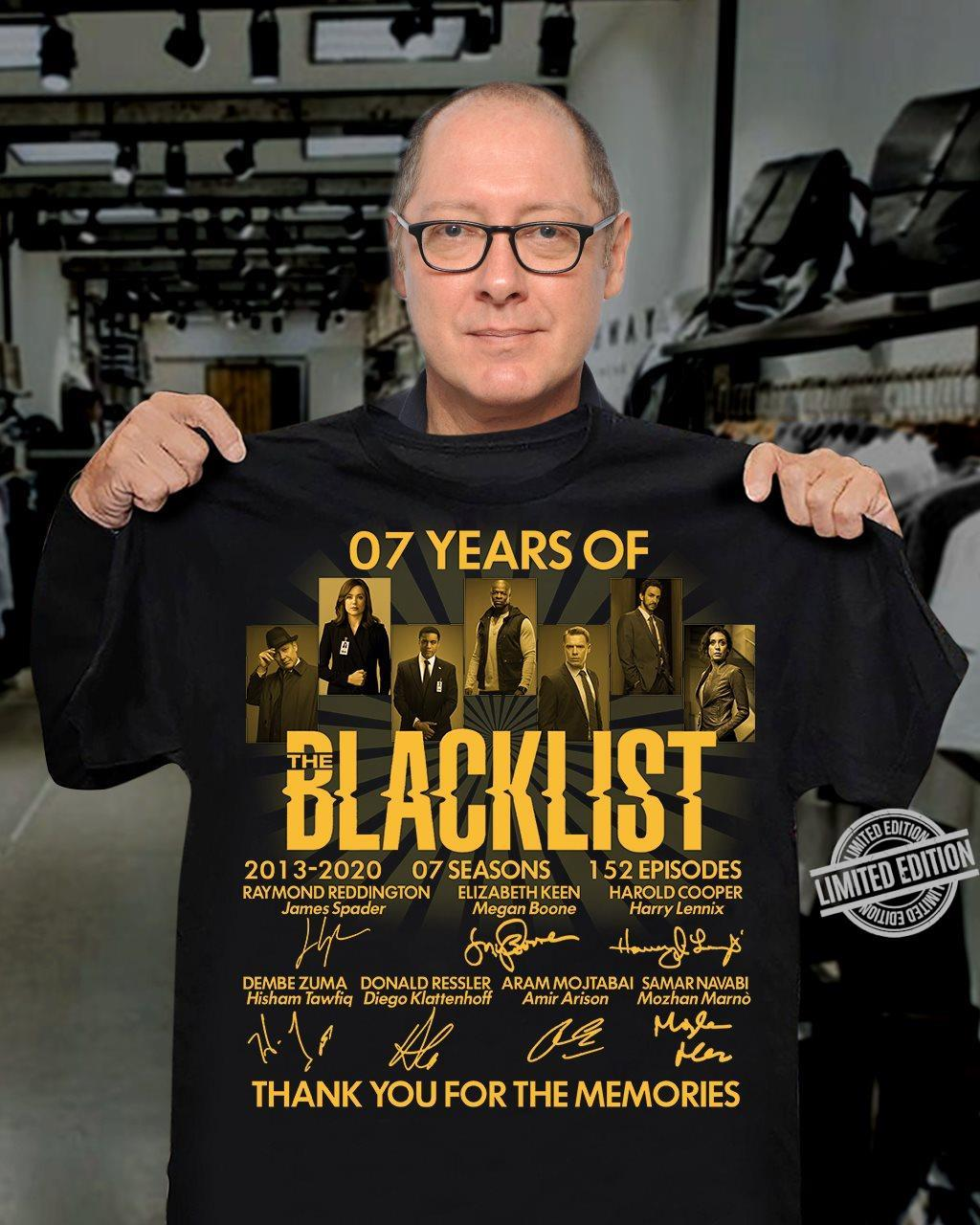 07 Years Of Blacklist 2013 2020 07 Season Thank You For The Memories Shirt