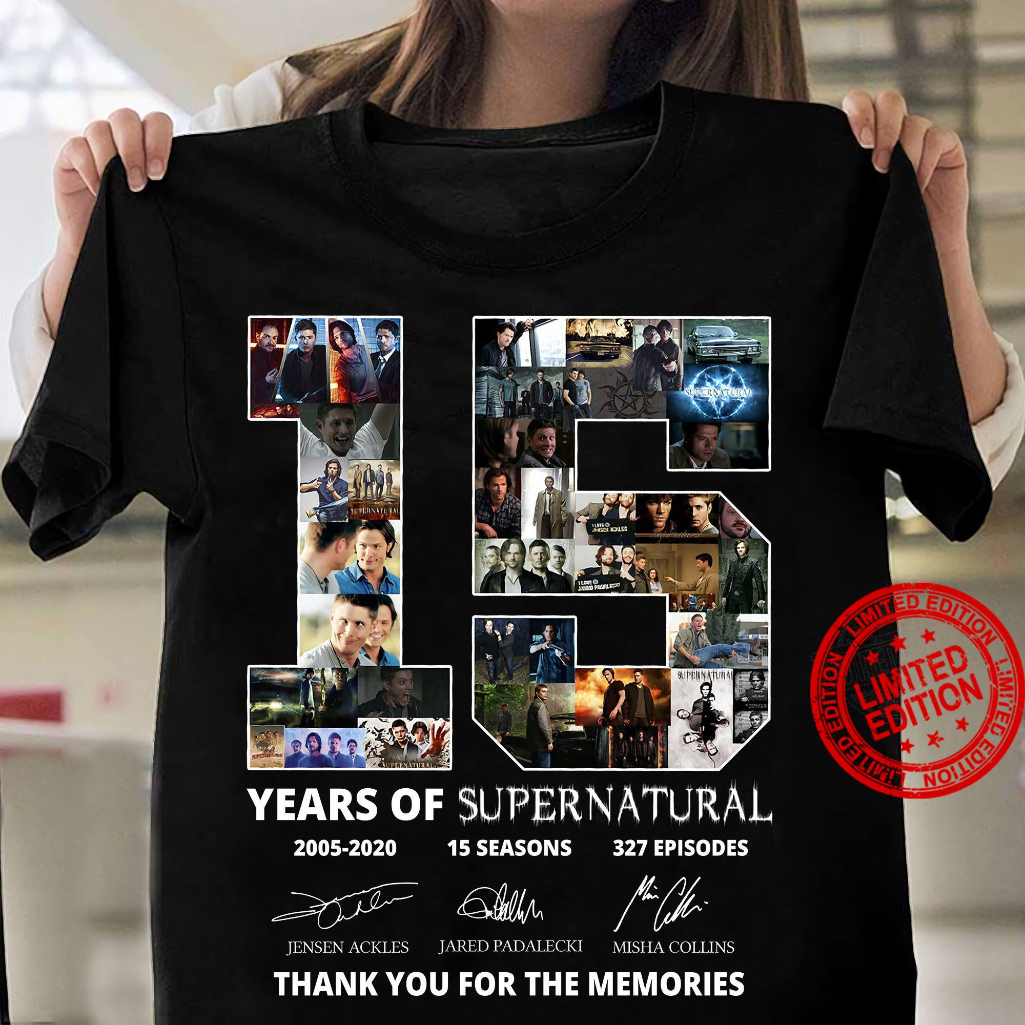 15 Years Of Supernatural 2005 2020 15 Seasons 327 Episodes Thank You For The Memories Shirt