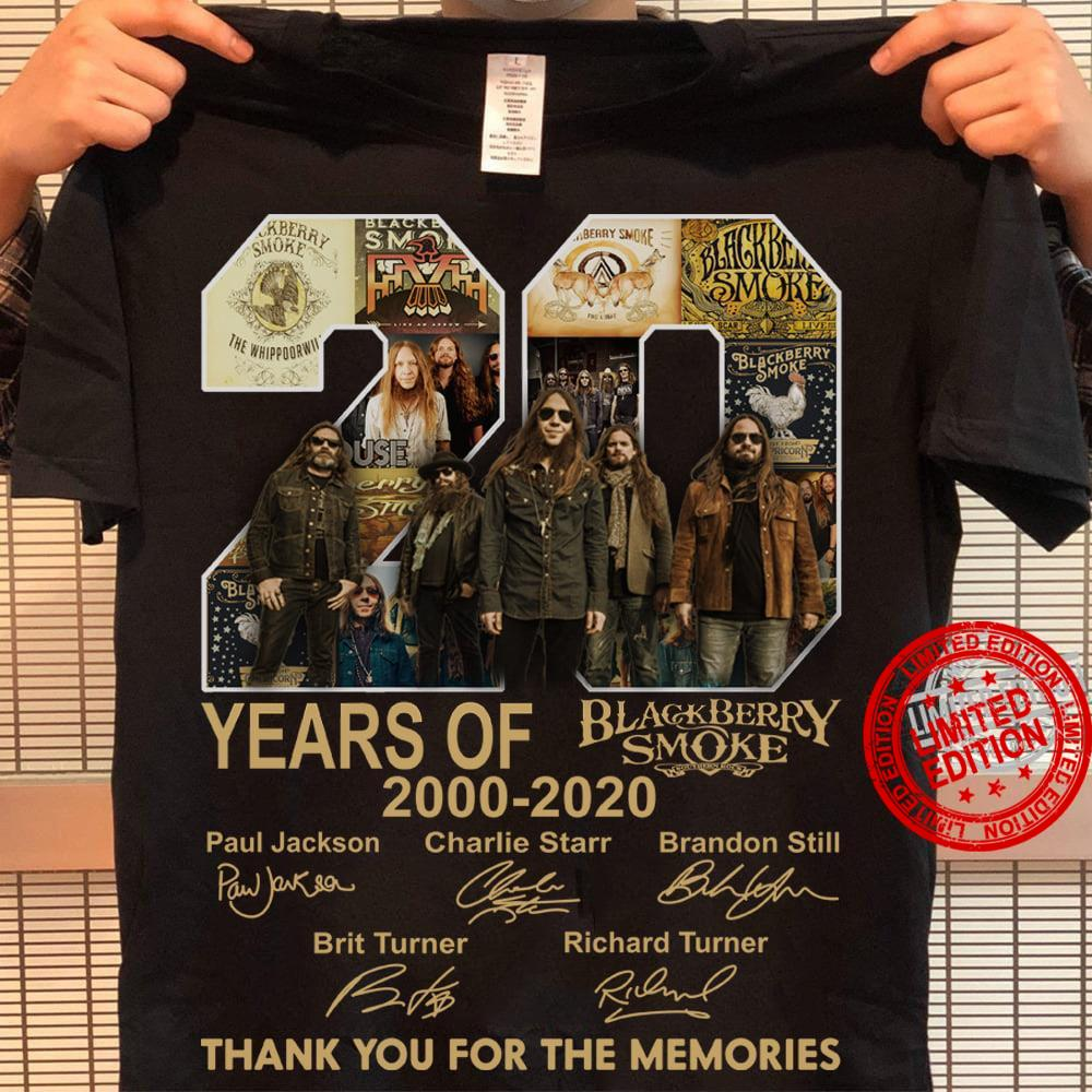 20 Years Of 2000 2020 Black Berry Smoke Thank You For The Memories Shirt