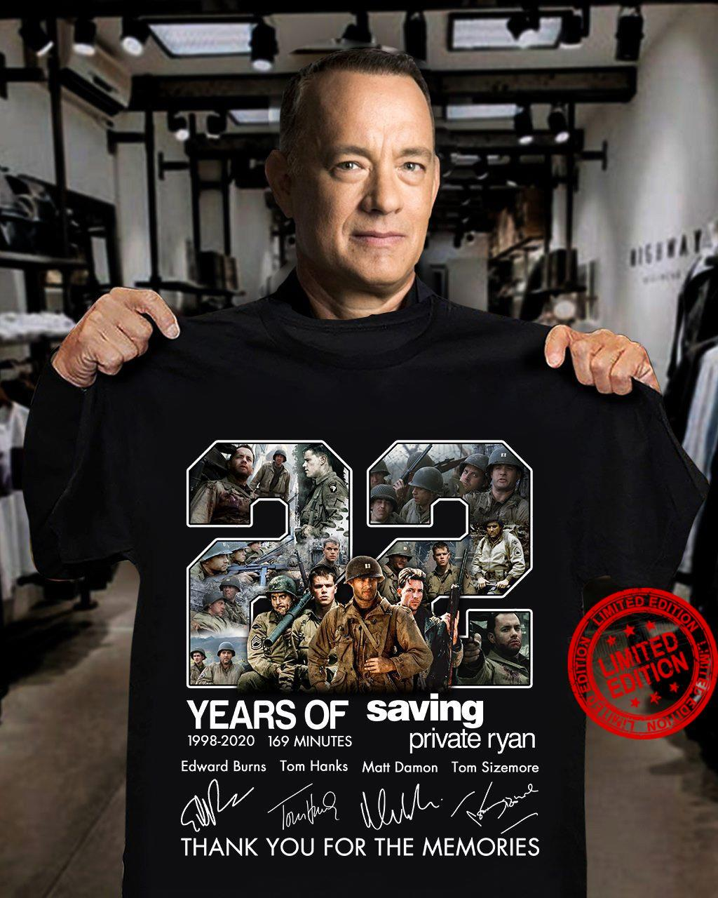 22 Years Of Saving 1998-2020 169 Minutes Private Ryan Thank You For The Memories Shirt