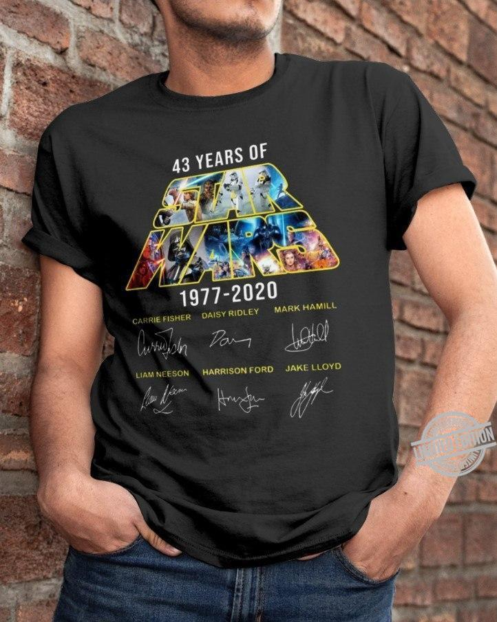 43 Years Of Star Wars 1977-2020 Liam Neeson Harrison Ford Signatures Shirt