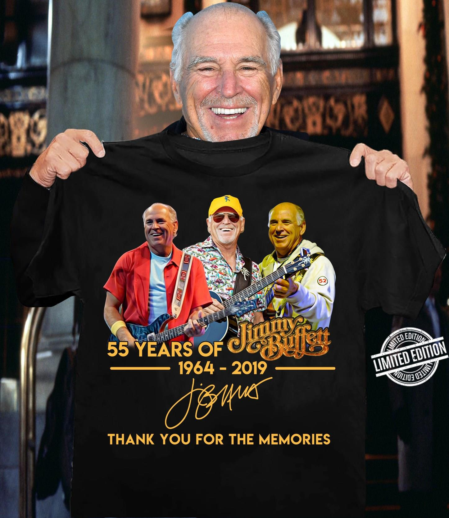 55 Years Of jimmy Buffett Thank You For The Memories Shirt
