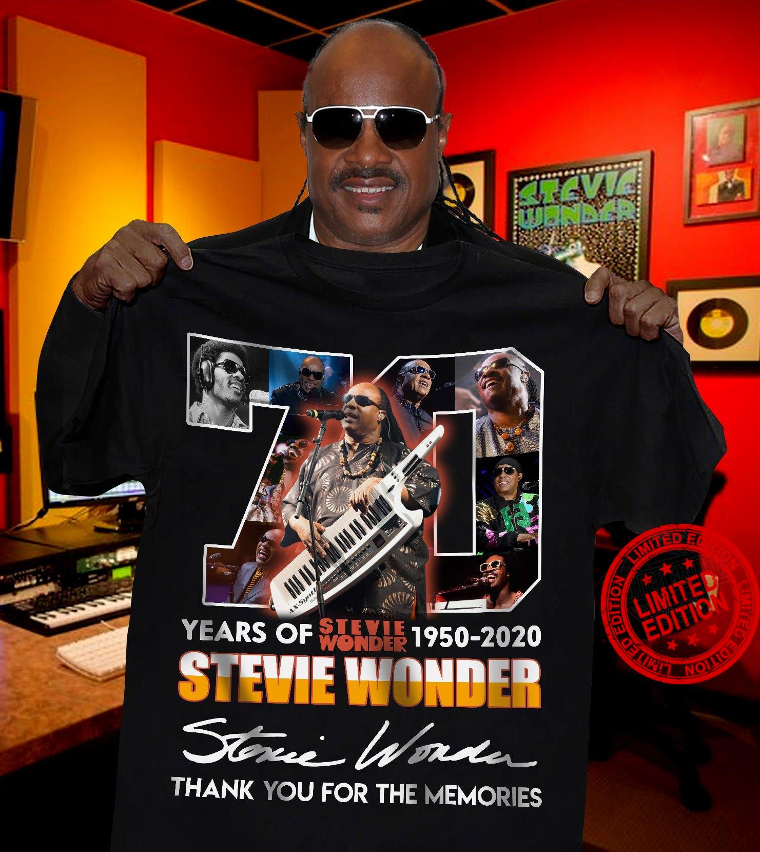 70 Years Of Stevie Wonder 1950-2020 Thank You For The Memories Shirt