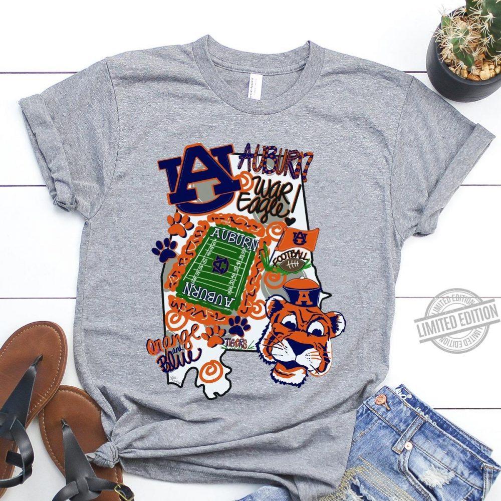 Auburn Football War Eagle Orange And Blue ShitShirt