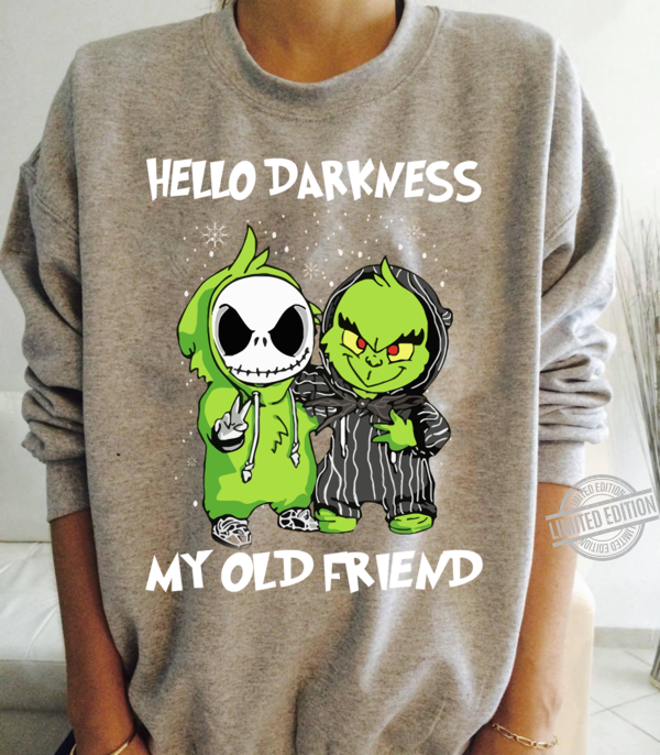 Baby Grinch And Jack Skelingtong Hello Darkness My Old Friend Shirt