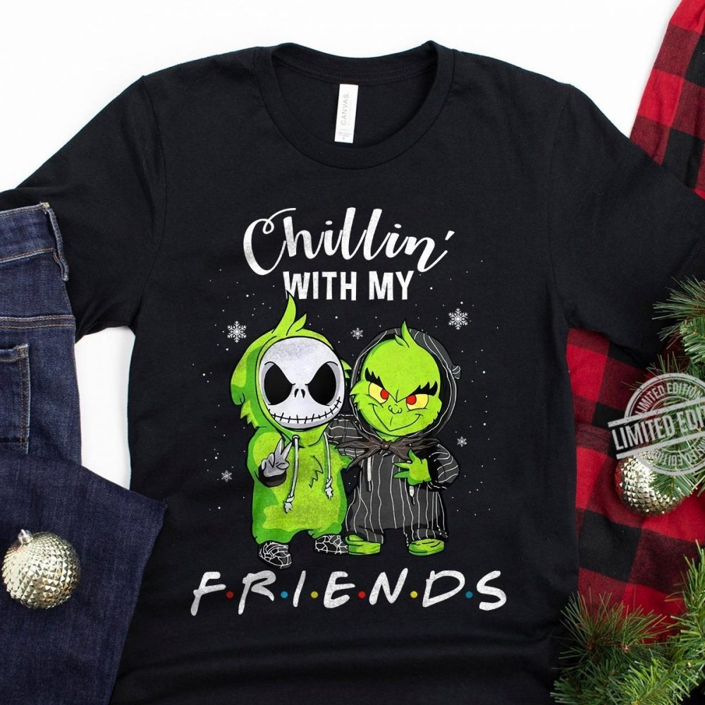 Baby Jack Skellington And Baby Grinch Chillin' With My Friends Shirt