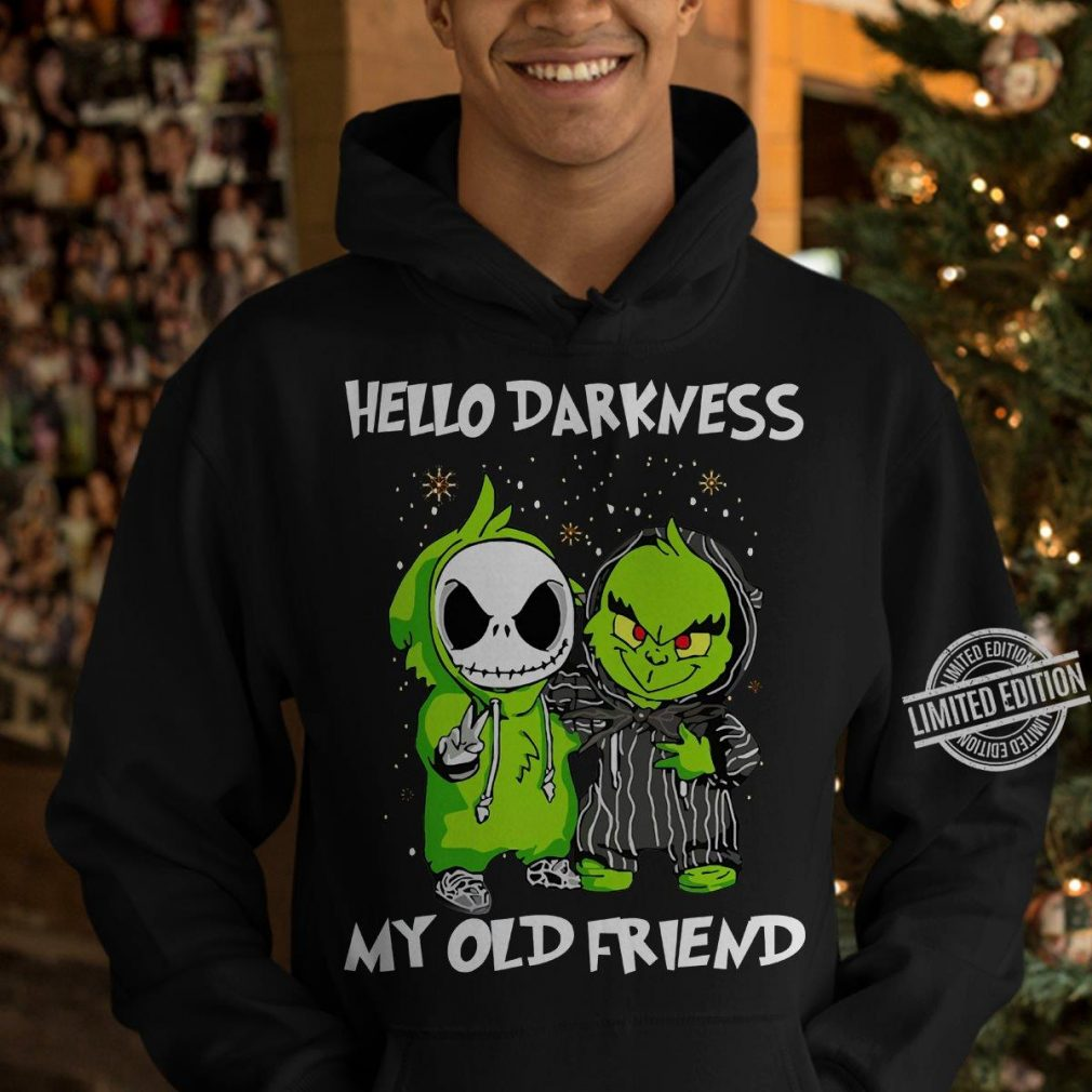 Baby Jack Skellington And Grinch Hello Darkness My Old Friend Merry Christmas Shirt