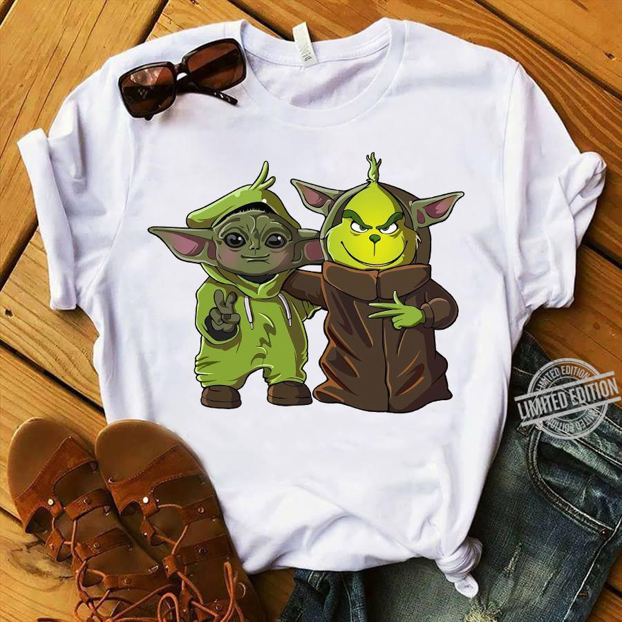 Baby Yoda And Baby Grinch Hello Christmas Shirt
