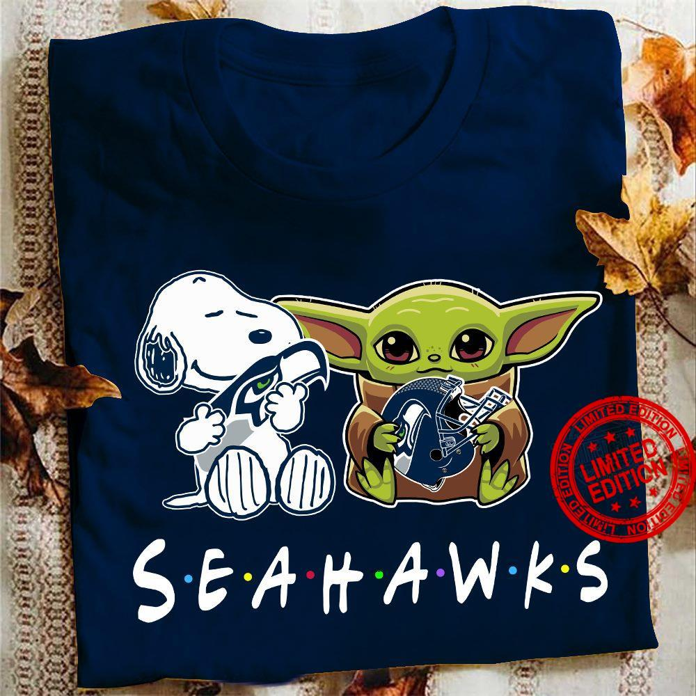 Baby Yoda And Snoopy Hug Seahawks Shirt