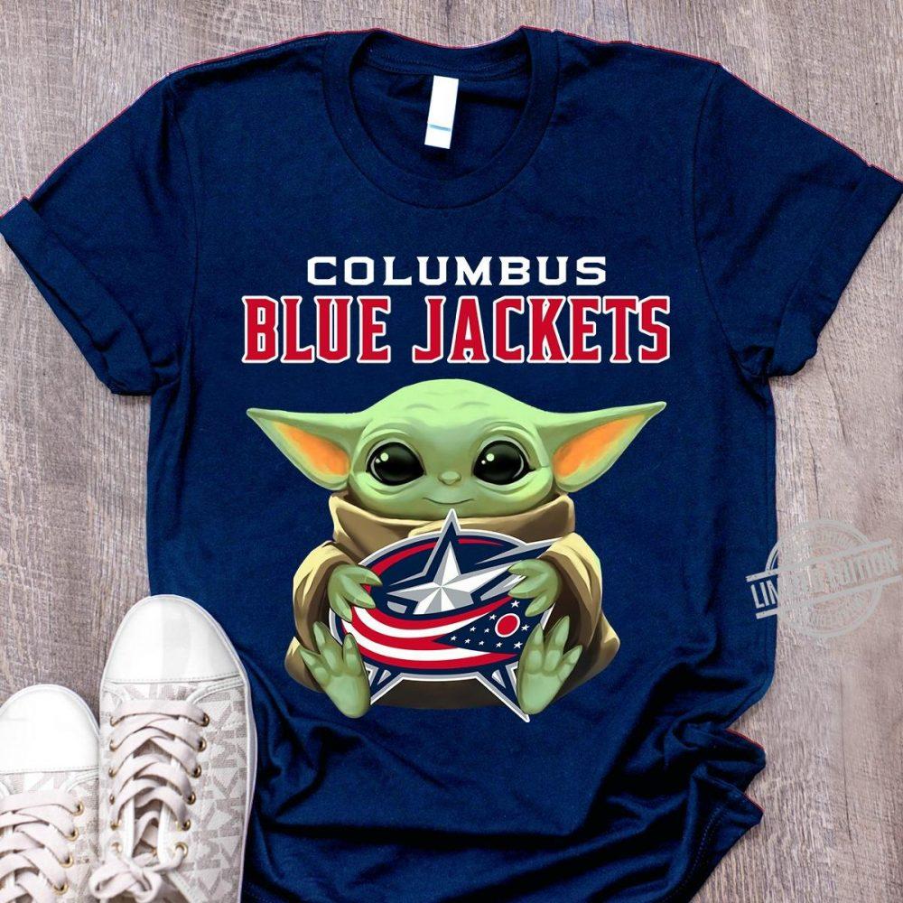 Baby Yoda Hug Columbus Blue Jackets Logo Shirt