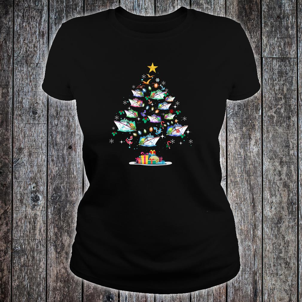 Boats decorating on the palm tree christmas shirt ladies tee