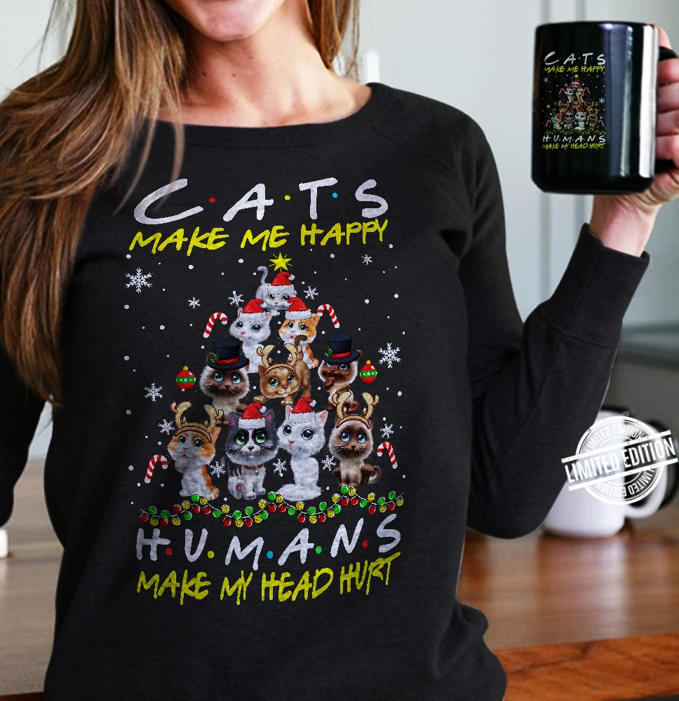 Cats Make Me Happy Humans Make Me Head Hurt Christmas Tree Shirt