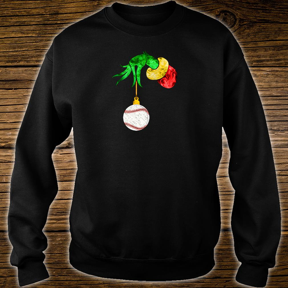 Grinch's hand and the softball shirt sweater