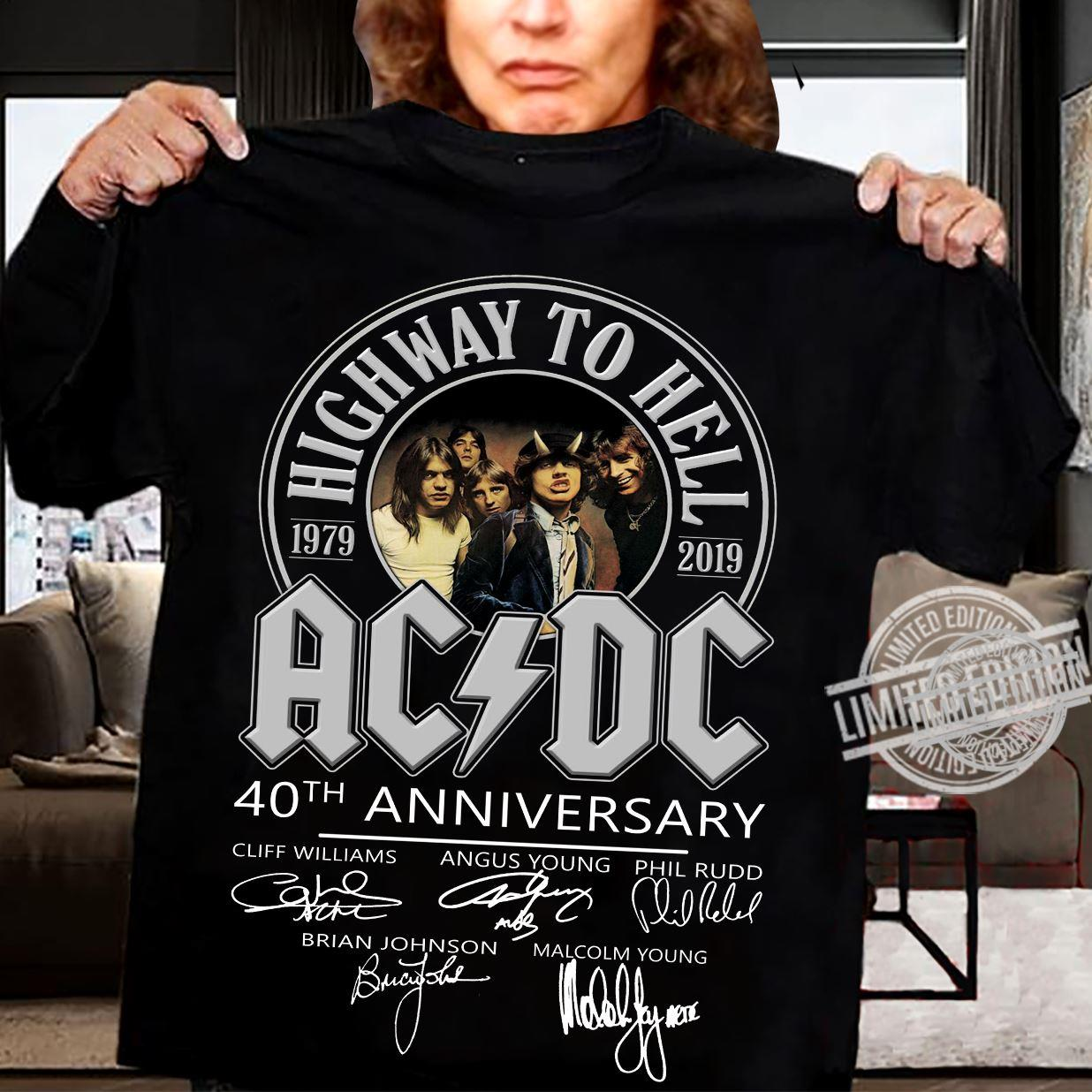 Highway To Heel AC DC 40th Anniversary Signatures Shirt