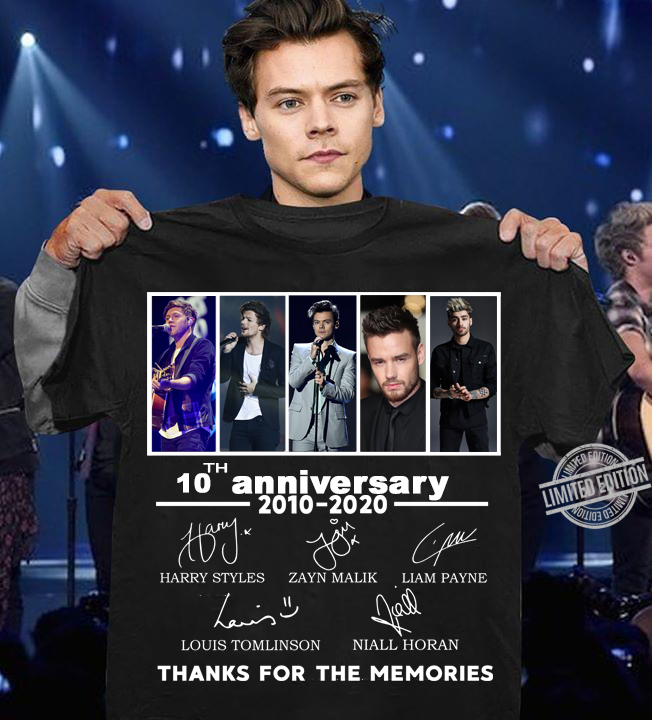 One Direction 10th Anniversary Thanks For The Memories Shirt