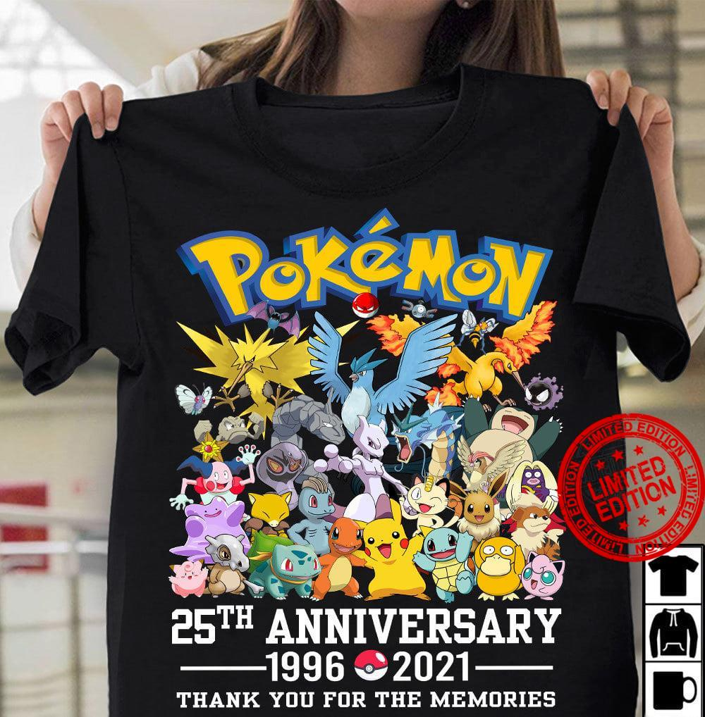 Pokemon 25th Anniversary 1996-2021 Thank You For The Memories Shirt